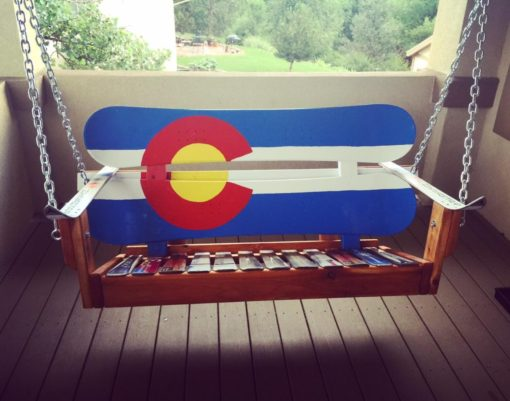 Colorado Flag Repurposed Hand Painted Mountain Mural Adirondack Snowboard Bench Porch Swing