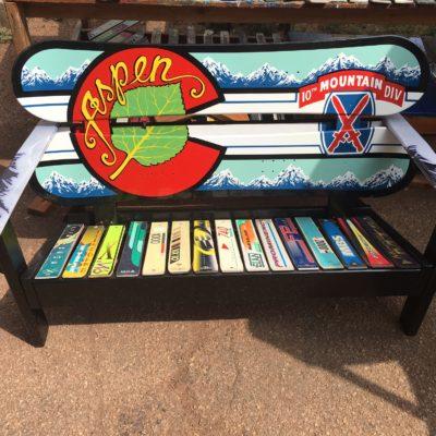 Colorado Flag Repurposed Hand Painted Mountain Mural Adirondack Snowboard Bench