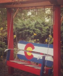 Colorado Flag Repurposed Hand Painted Mountain Mural Adirondack Snowboard Bench Hanging Swing