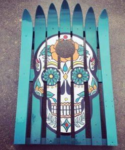 sugar skull ski cornhole set