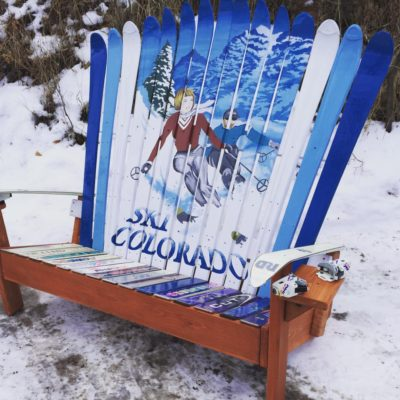 Colorado Flag Repurposed Hand Painted Ski Colorado Adirondack Ski Bench