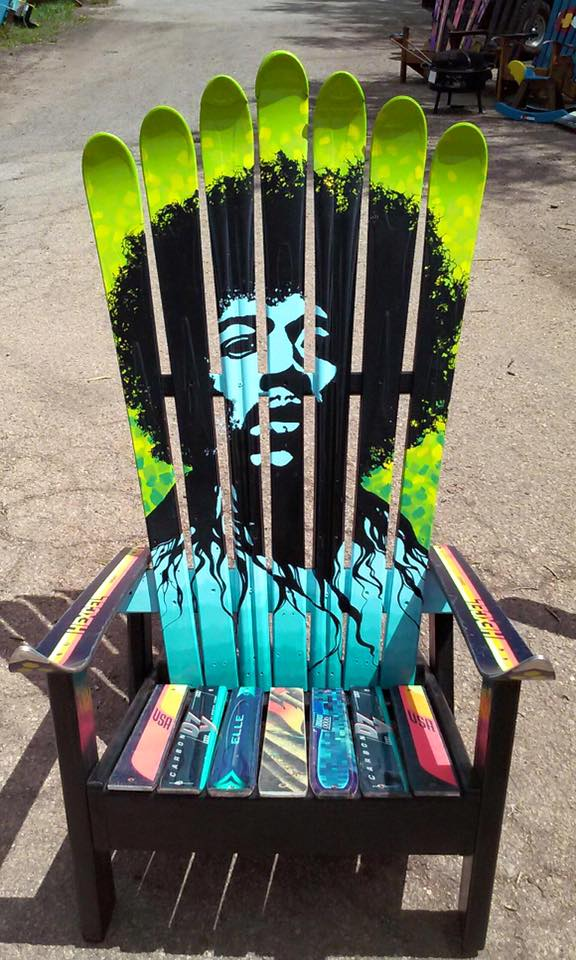 Jimi Hendrix Adirondack Ski Chair oil painted repurposed – Adirondack Ski Chairs