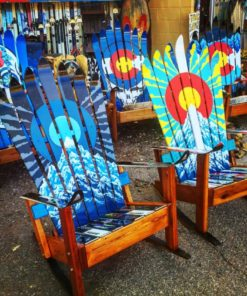 Colorado Sunburst Or Moonburst Ski Chair Hand Painted