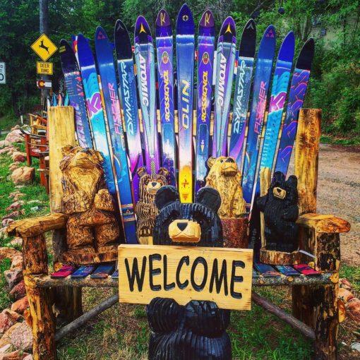 Woodland Park Colorado Repurposed Black Forest Fire Log Adirondack Ski Bench