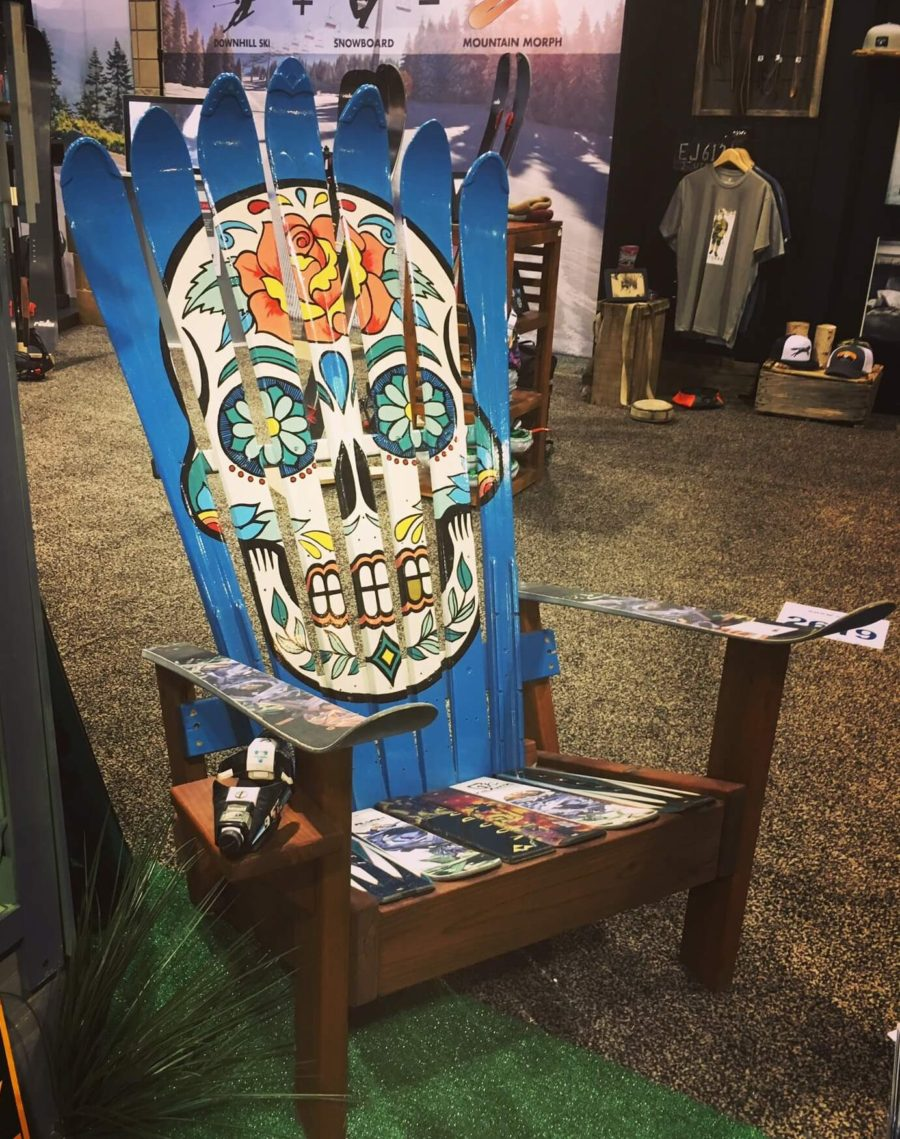 Blue Sugar Skull Adirondack Ski Chair