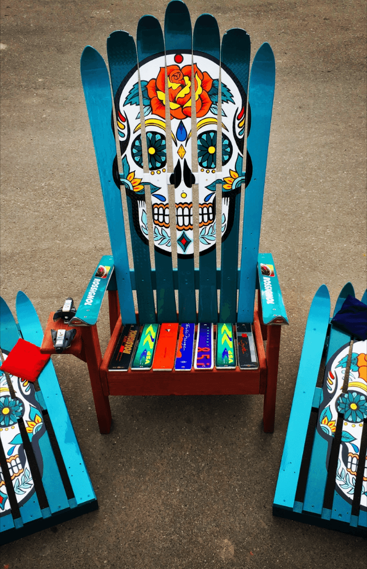 Genial Hand Painted Sugar Skull Adirondack Chair