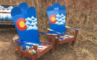 Colorado Mountains Snowboard Adirondack Chairs