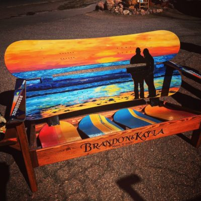Beach sunset Mural snowboard bench