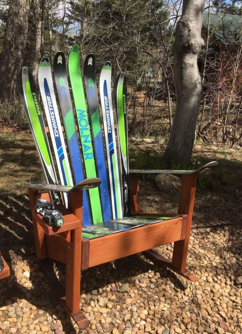 Vintage Ski Adirondack Chair Retro Old School Gaper Skis