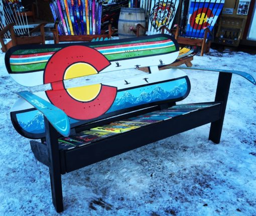 Colorado Flag Repurposed Hand Painted Mountain Mural Adirondack Snowboard Bench