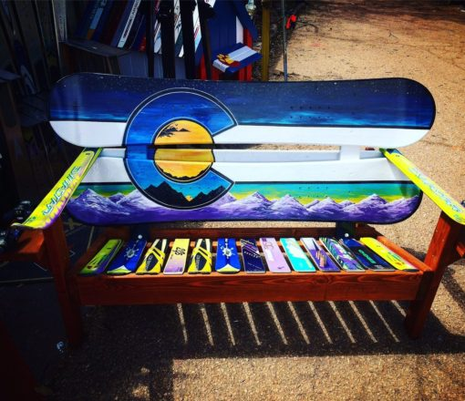 Colorado Mountain Mural Adirondack Snowboard Bench