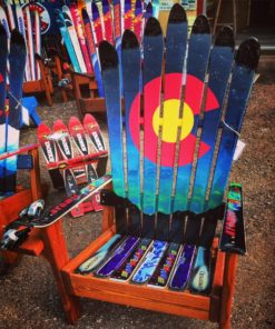 CO Northern lights mountain silhouette adirondack ski chair