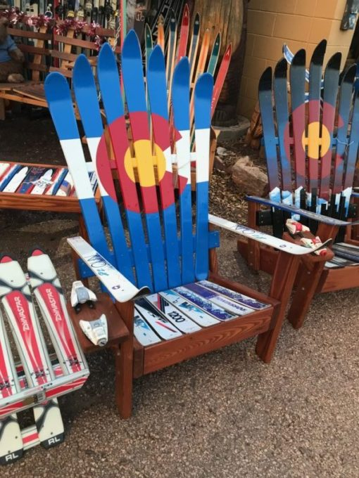 Colorado Flag Signature Adirondack Ski Chair, Colorado Ski Chairs, Breckenridge Colorado