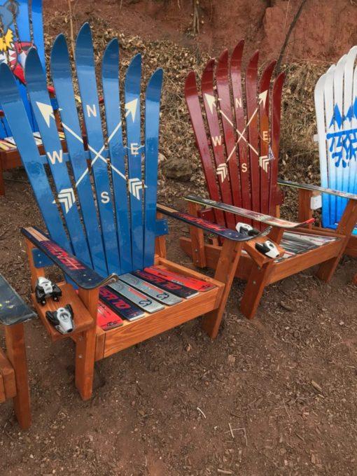 Navy Blue Crossed Arrows Adirondack Ski Chair