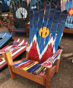 Denver Flag Hand Painted Adirondack Ski Chair