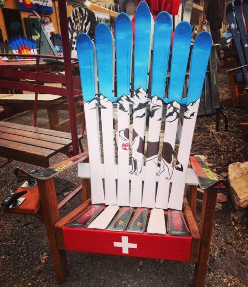 Swiss Mountain Rescue Dog Adirondack Ski Chair