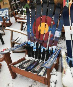 Denver Colorado Skyline Mural Hand Painted Adirondack Ski Chair
