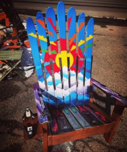 Rainbow Sunburst Colorado Mountain Mural Hand Painted Adirondack Ski Chair