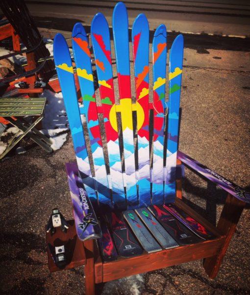 Rainbow Sunburst Colorado Mountain Mural Hand Painted Adirondack Ski Chair