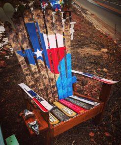 Texas Flag Hand Painted Adirondack Ski Chairs