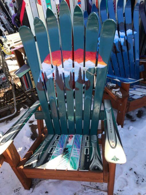 Bear Sunset Adirondack Ski Chair - Green
