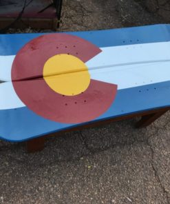 CO flag snowboard coffee table