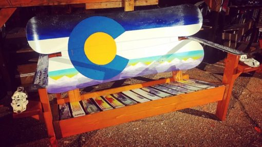 Colorado Flag Purple Mountains Adirondack Snowboard Bench
