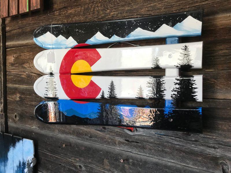 Colorado Mountain Mural Ski Wall Art & Colorado Mountain Mural Ski Wall Art hand painted on Skis