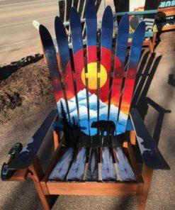 Colorado Sunset Bear Mural Ski Chair