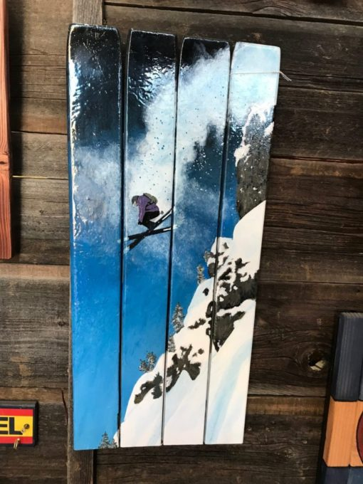 Skier Cliff Jump Hand Painted Ski Wall Art