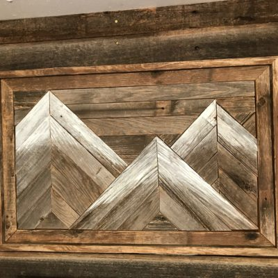 Rustic Barnwood Mountain Wall Art