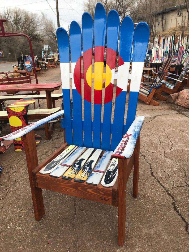 Colorado Flag Ski Chair W Tall Base