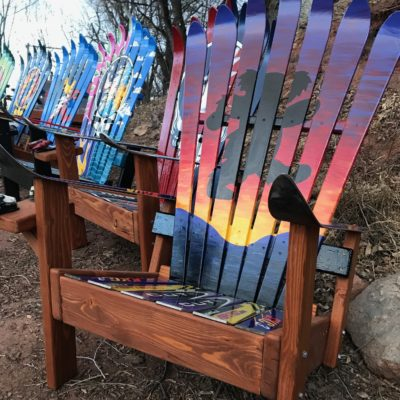 Dancing Sunset Bear Adirondack Ski Chair