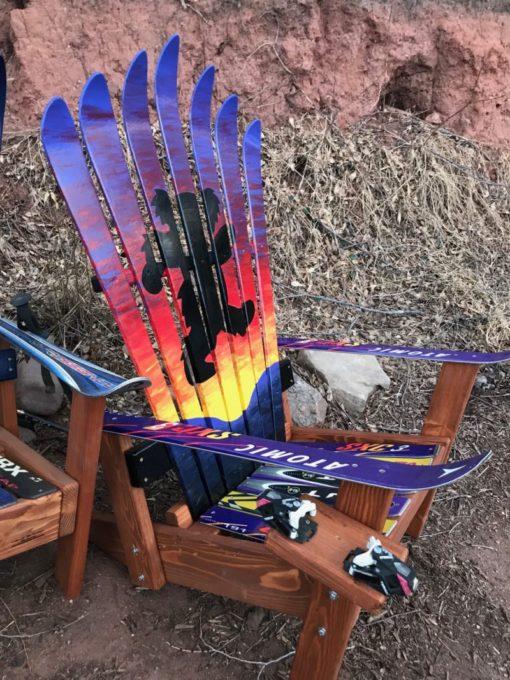 Dancing Sunset Bear Adirondack Ski Chair