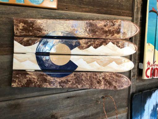 Colorado Mountain Blue/Brown/Beige Ski Wall Art