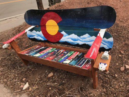 Colorado Northern Lights Mural Adirondack Snowboard Bench