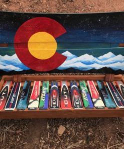 Colorado Northern Lights Mural Adirondack Snowboard Bench