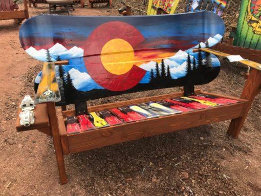 Colorado Sunset Mural Adirondack Snowboard Bench