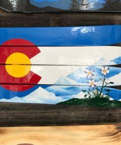 Columbines, Mountains and Colorado Ski Wall Flag