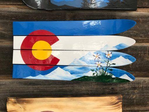 Columbines, Mountains and Colorado Ski Wall Flag