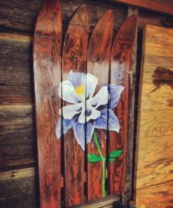 Wooden Columbine Wall Art
