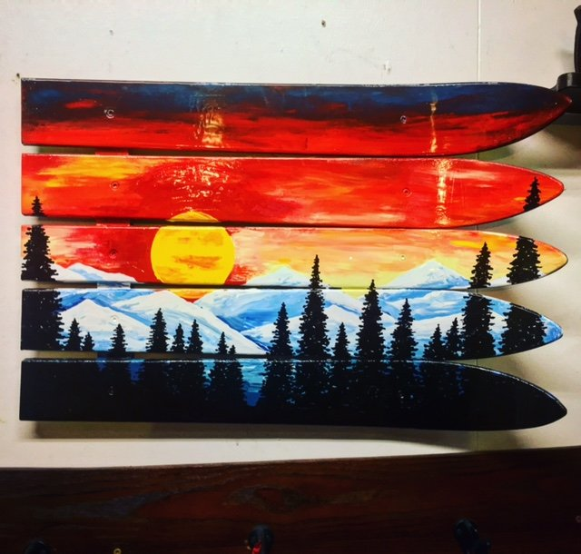 Colorado Flag Sunset Mural Ski Wall Art Hand Painted
