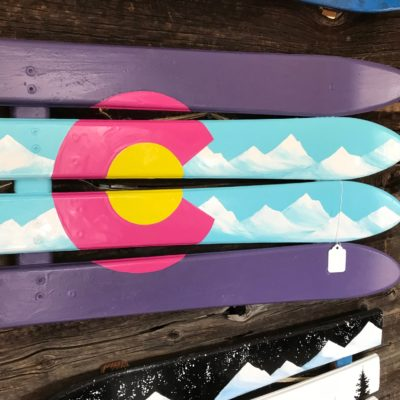 Neon CO ski wall flag