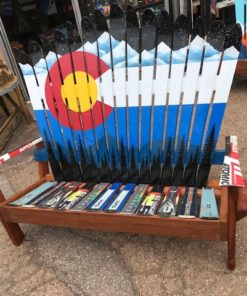 Colorado Mountain Mural Ski Bench