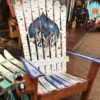 Aspen Night Mural Adirondack Ski Chair on repurposed skis