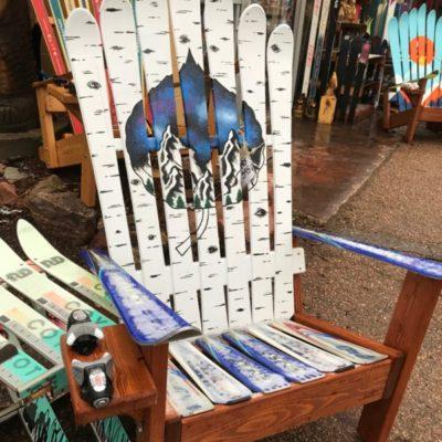 Aspen Night Mural Adirondack Ski Chair on repurposed skis