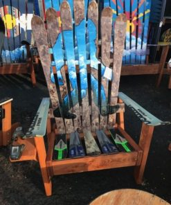 Sasquatch Yeti Squatch Bigfoot Hand Painted Adirondack Ski Chair Set