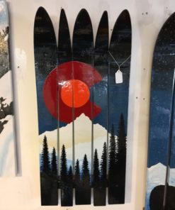 Colorado Flag Rocky Mountains Orange Moon Mural Ski Wall Art hand painted