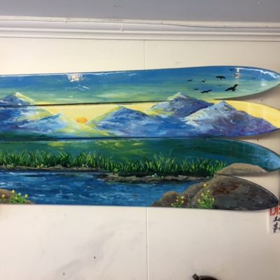 Rocky Mountains Sunshine Mural Ski Wall Art hand painted