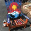 Colorado Moose Mountain Mural Hand Painted Adirondack Ski Chair Set